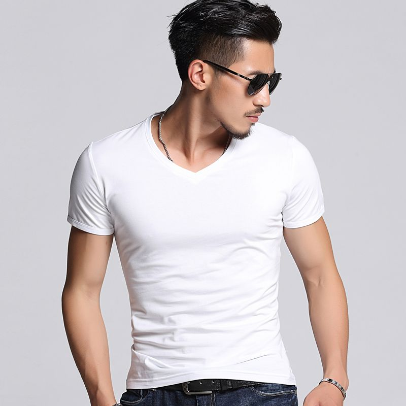 Male short-sleeve T-shirt V-neck tight-fitting slim solid color white sweetheart neckline basic shirt 2017 clothes thin