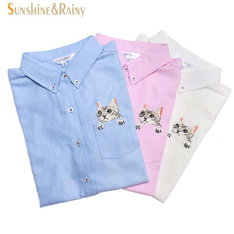 Nouveau haute qualité printemps automne femmes Blouse chats broderie à manches longues chemises de travail femmes bureau hauts chemises blanches pour les affaires