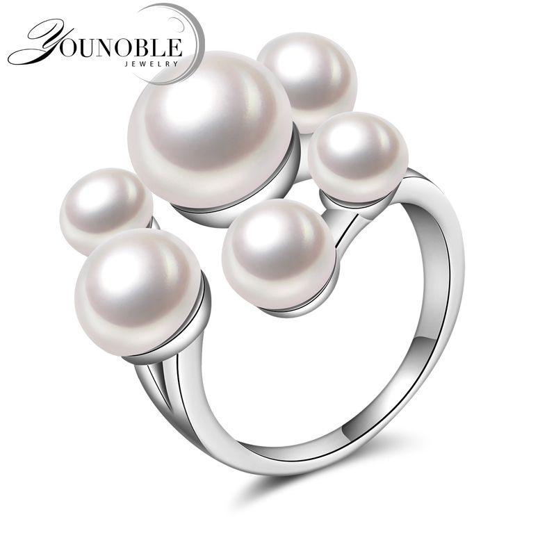 Boda real natural de perlas de agua dulce para las niñas, divertido plata 925 anillos para las mujeres ajustable aniversario blanco mejores regalos