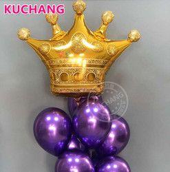1 unid gran tamaño corona de oro globos Príncipe princesa Baby Shower cumpleaños Bachelorette partido decoraciones Photo Props