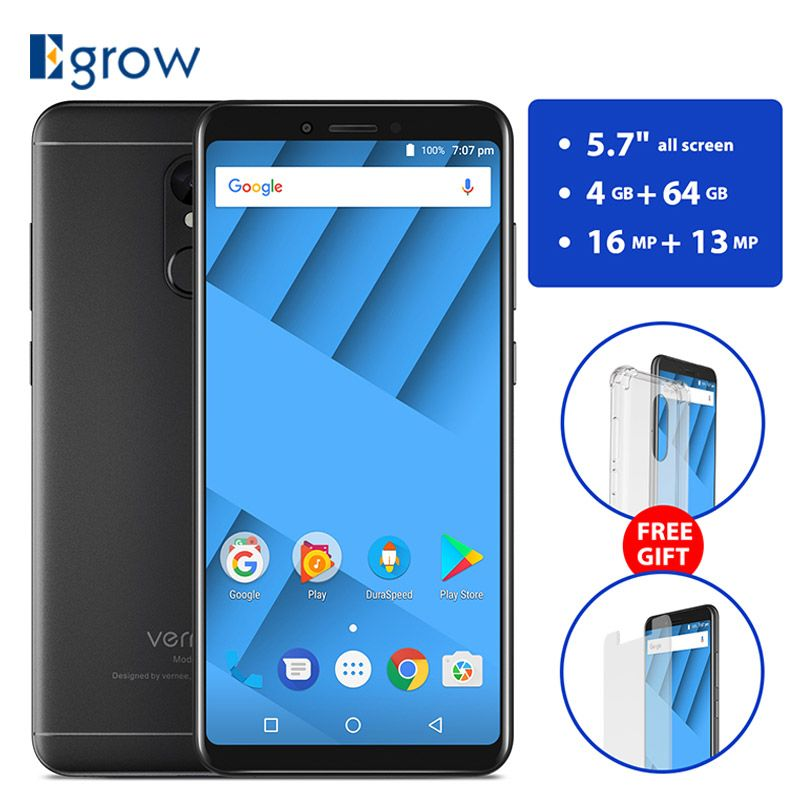 Vernee M6 5.7 inch 18:9 Screen 4G RAM 64G ROM Mobile Phone MT6750 Octa core Android 7.0 16MP Camera Cell Phone 4G LTE Smartphone