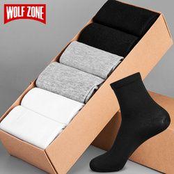 WOLF ZONE Brand Socks Men Fashion Dress Mens Socks 100% Cotton High Quality Business Casual Breatheable Long Sock 6 Pairs\Set
