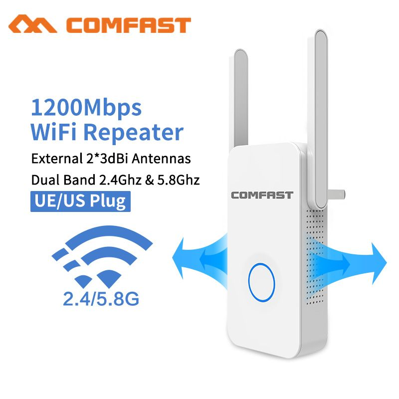 2018 1200Mbps Comfast Gigabit WiFi Repeater Router Access Point WiFi Range Extender 2*3dBI Antennas 5.8Ghz Wi fi Signal Amplifer