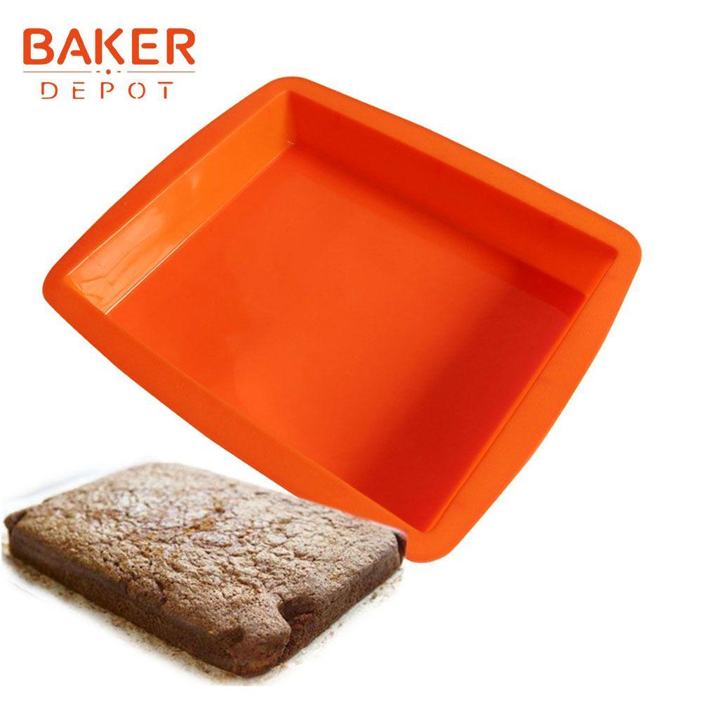 BAKER DEPOT Silicone moule pour gâteau cuisson grand rectangulaire toast pain pâtisserie moule pains gâteau bakware outil anniversaire gâteau forme