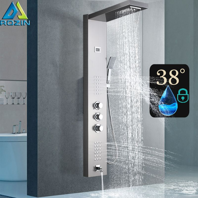 Thermostatic Shower Mixer Panel Brushed Nickel Rain Waterfall Shower Column Tower with Massage Jet Shower Faucet Tap