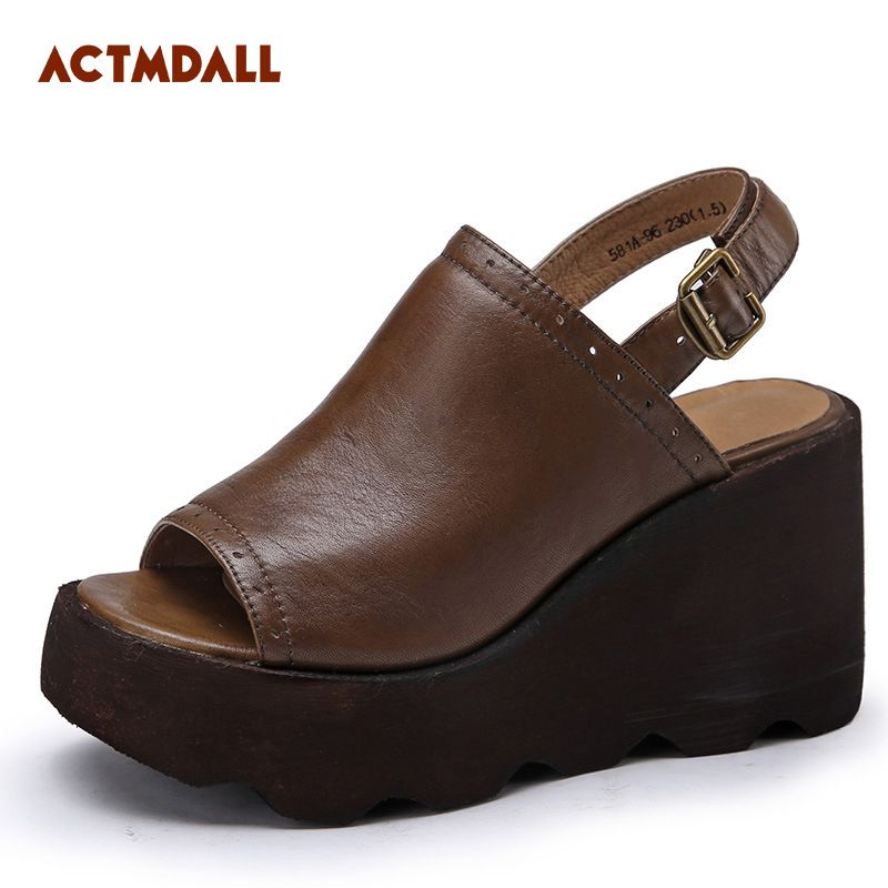 2018 Fashion Peep Toe Summer Wedges Platform Women Sandals Leather High Heels Sandals Women Thick Bottom