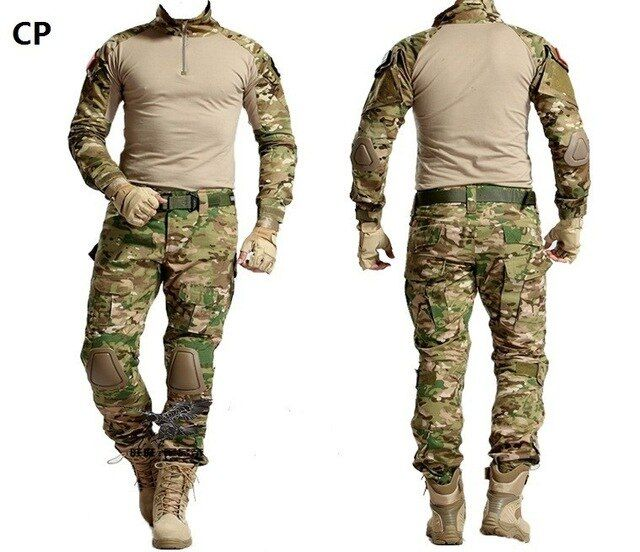 Militär Uniform Multicam Armee Combat Shirt Einheitliche Taktische Hosen mit Knie Pads Camouflage Anzug Jagd Kleidung