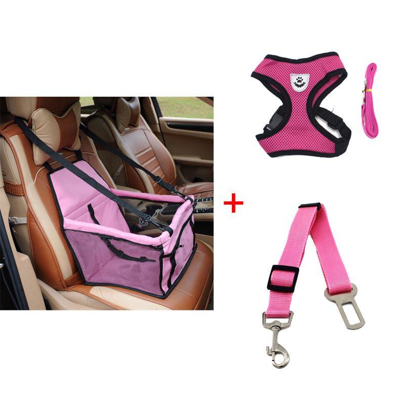 pawstrip Dog Booster Seat Dog Car Seat Basket Pet Safety Belt Mesh Dog Harness Vest Small Dog Leash Pet Travel Accessories