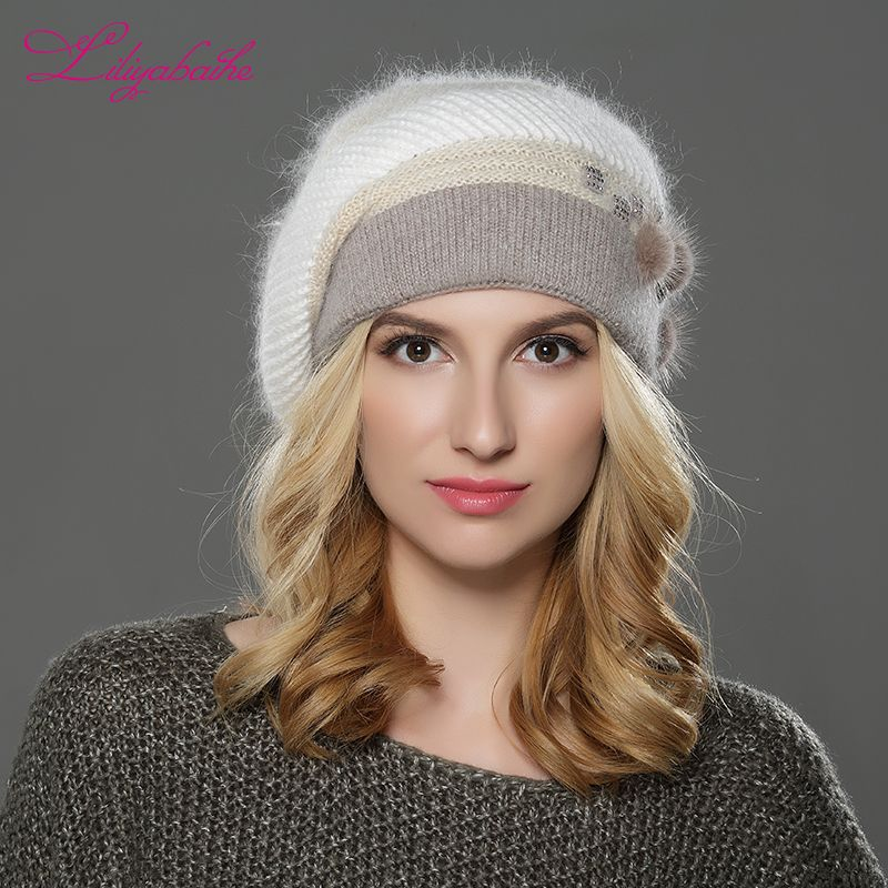 LILIYABAIHE NEW winter Women beret hat knitted wool angora beret patchwork stylish mink <font><b>flower</b></font> decoration cap Double warm hat
