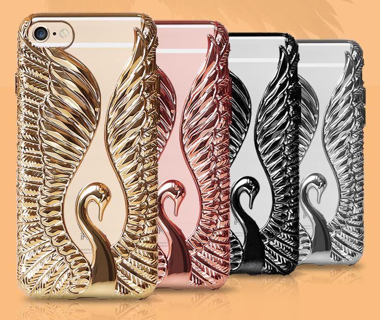 DOYAEL Bling Swan Cristal Diamant Téléphone Cas Pour iPhone 7 6 6 S Plus Doux Strass Couverture Arrière Pour iPhone 7 Plus Capa Coque
