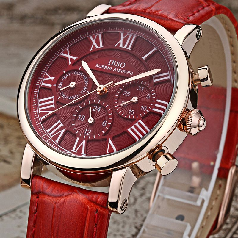 IBSO Leather Strap Women Watches 2017 Vintage Genuine Calendar Multifunction Quartz Watches Ladies Wristwatches Montre Femme