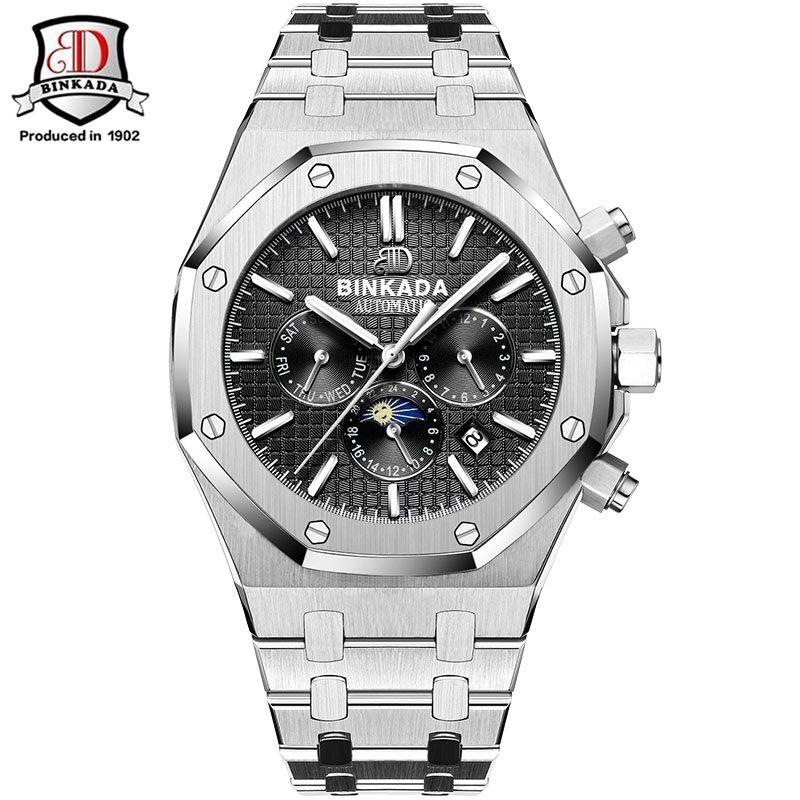 Watches Men Luxury Top Brand Original Binkada Waterproof Auto mechanical Watches fashion wristwatch mens Royal Style