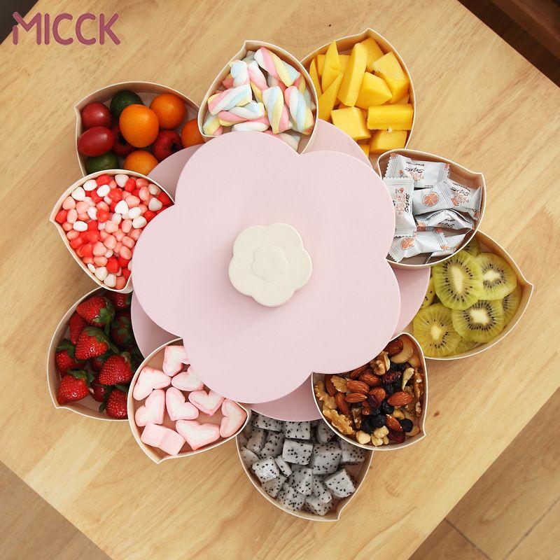 MICCK boîte à collation rotative en forme de pétale plateau à bonbons boîte de rangement des aliments plaques de bonbons de mariage Double-pont stockage organisateur de fruits secs