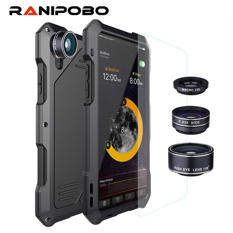 3-couches Hybride Antichoc Téléphone Cas pour iPhone 7 6 6 s Plus 8 Plus X Complet Protéger Cas avec 3 dans 1 15X Macro Lentille + Verre
