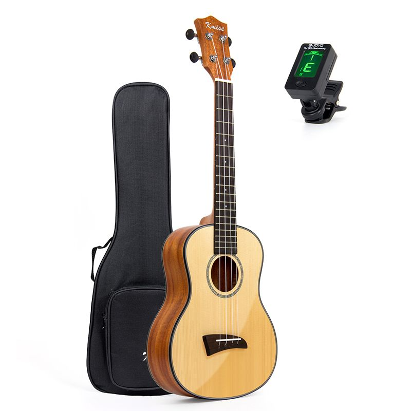 Kmise Solid Spruce Ukulele Tenor Ukelele 26 inch Clear Gloss Mahogany Bone Nut Saddle Aquila String with Gig Bag Tuner