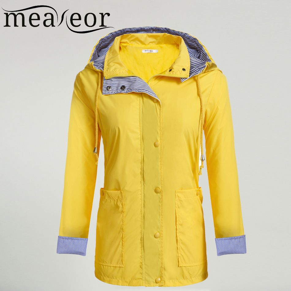 Meaneor Women Casual Waterproof Autumn Raincoat Regenjas Hooded Trench Coat Adjustable Drawstring Pocket Winter Windbreaker
