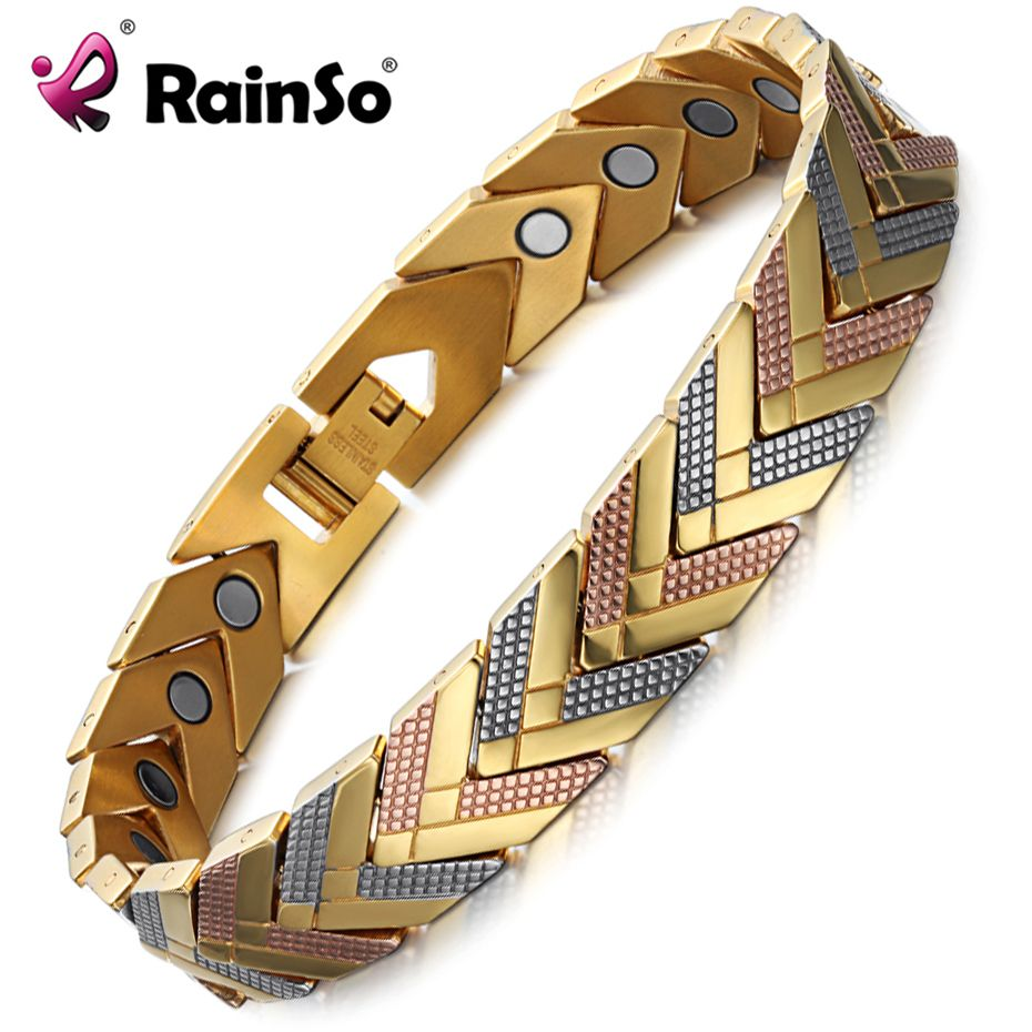 Rainso Health <font><b>Magnetic</b></font> Bracelet Bangle For Women Hot Sale Stainless Steel Bio Energy Bracelet Gold Fashion Jewelry