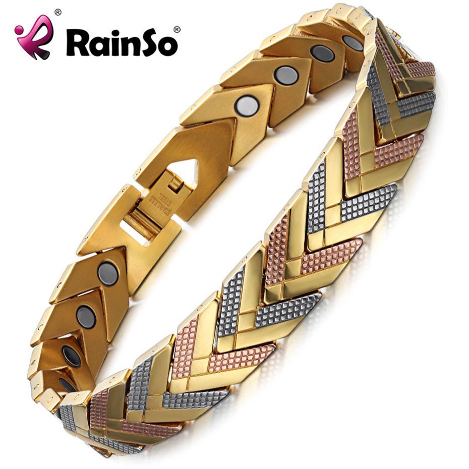 Rainso Santé Magnétique Bracelet Bracelet Pour Les Femmes 2017 Vente Chaude En Acier Inoxydable Bio Bracelet D'énergie Or De Mode Bijoux
