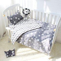 3 piezas algodón cuna cama Kit bebé de dibujos animados juego de cama Incluye funda de almohada edredón sin relleno