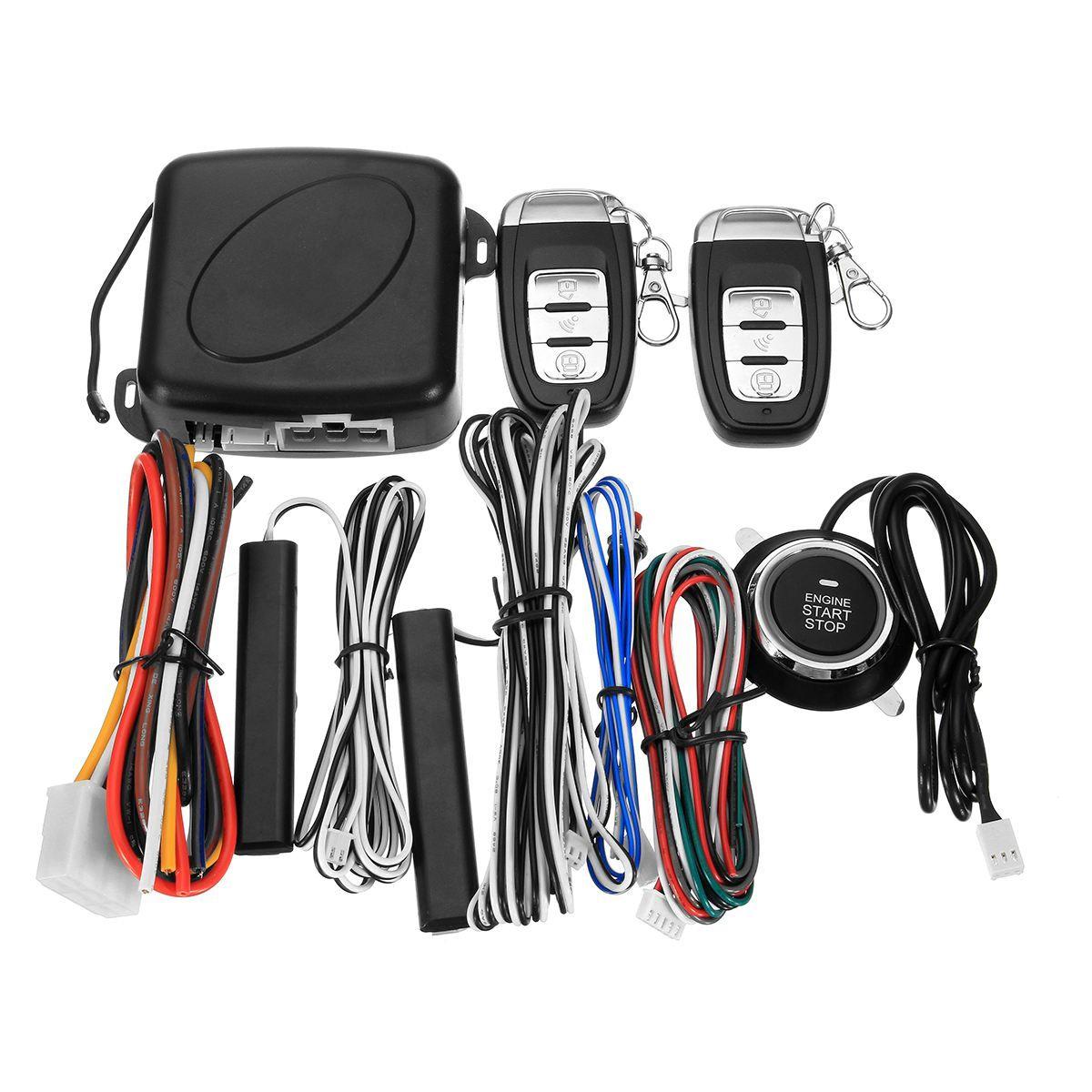 9Pcs Car SUV Keyless Entry Engine Start Alarm System Push Button Remote Starter