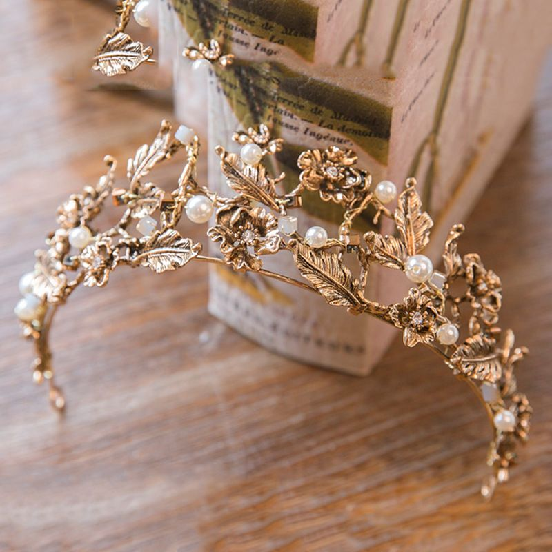 Vintage Baroque Gold Pearl Leaf Bridal Tiara Crystal Crown Hairband Headpiece Vine Tiara Wedding Hair Accessories Bride Headband