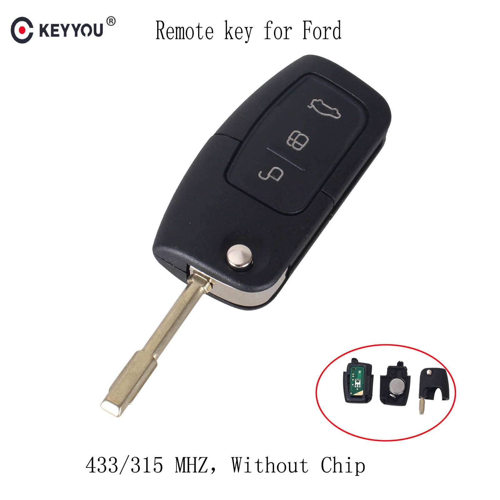 KEYYOU 315/433 MHz 3 Buttons Flip Folding Car remote control For FORD Mondeo Focus Fiesta C Max S Max Galaxy