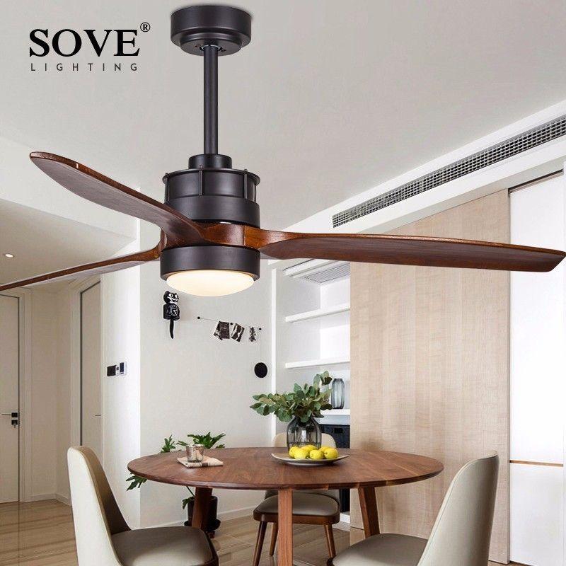 SOVE White Village Wooden Ceiling Light Fan Wood Remote Control Decorative Ceiling Fans With Lights Fan Lamp Ventilador De Techo