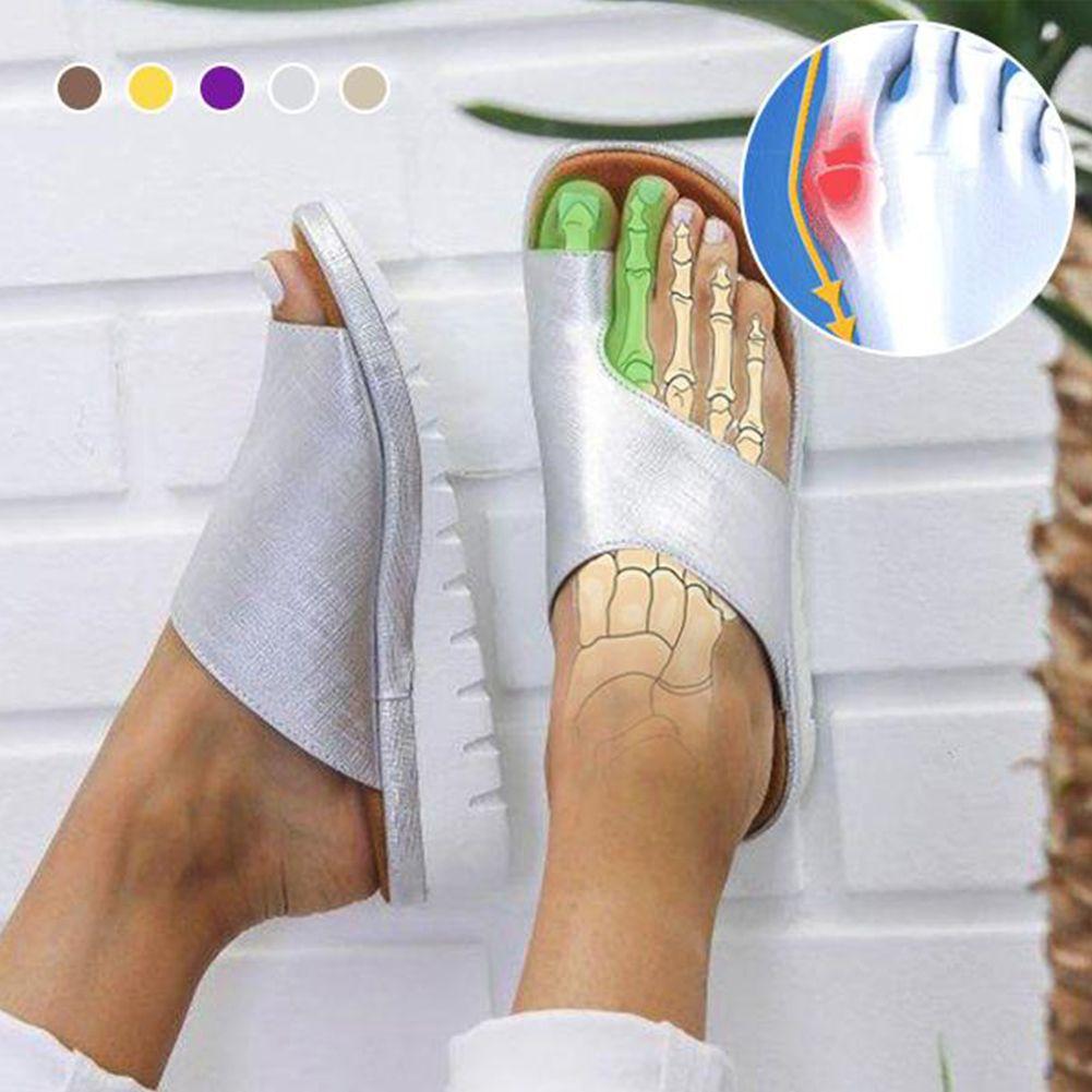 WDHKUN 1 Pair Women Comfy Platform Sandal Shoes Feet Correct Thickened Street PU Leather Dating Shopping Flat Sole Women Sandal