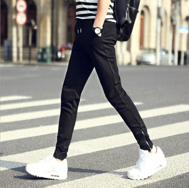 2018 Spring New Design Men Sport Pants With Pockets Breathable Running Pants Size S to 2XL Black Color Dropshipping