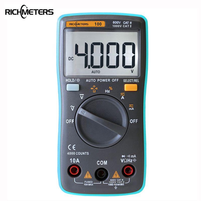 RICHMETERS RM100 Multimètre 4000 compte Retour lumière AC/DC ampèremètre de tension Voltmètre Ohm 9.999 MHz Fréquence Diode