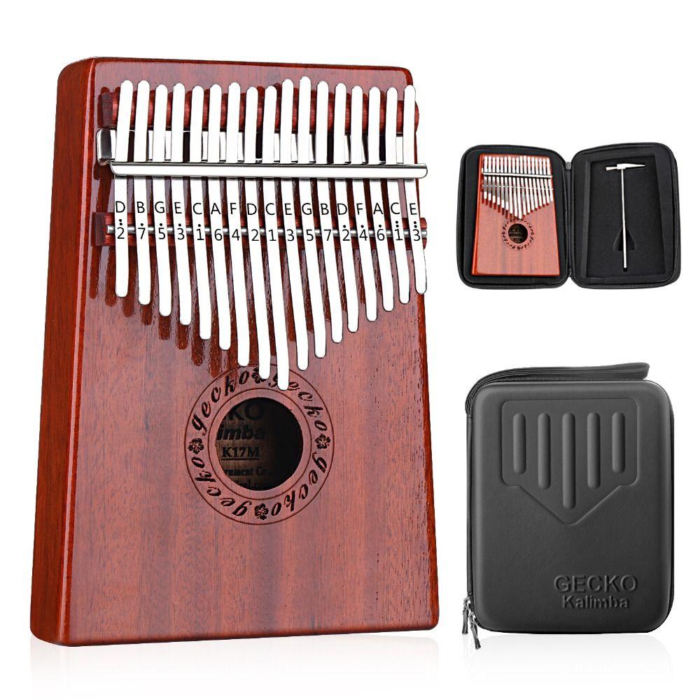 GECKO Kalimba 17 Keys Thumb Piano builts-in EVA high-performance protective box, tuning hammer and study instruction. K17MBR