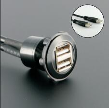 22mm diamètre de montage métal Double USB femelle A à mâle A avec câblage 60 cm
