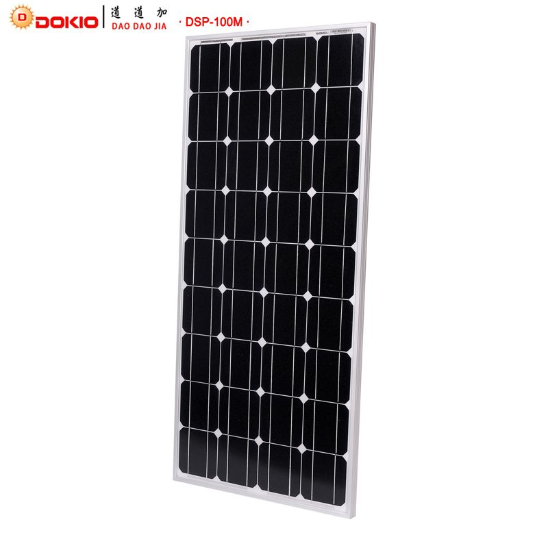Dokio Brand Solar Panel China 100W Monocrystalline Silicon 18V 1175x535x25MM Size Top quality Solar battery China #DSP-100M