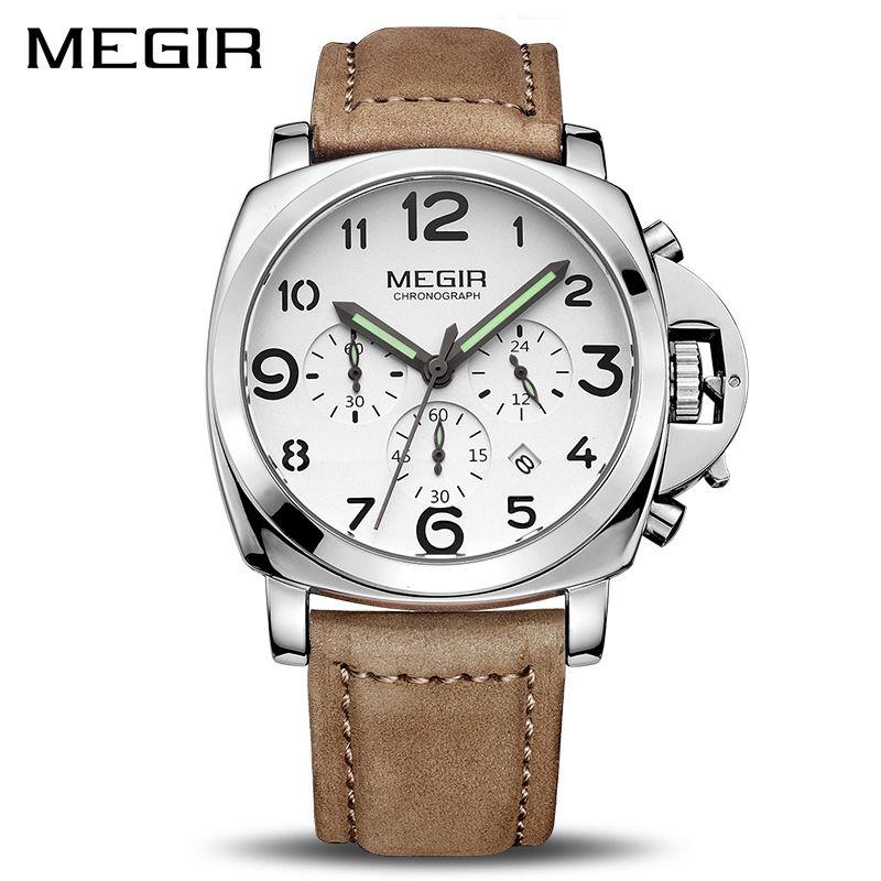 <font><b>MEGIR</b></font> Clock Men Top Brand Luxury Quartz Men Watch Big Dial Chronograph Military Watches Luminous Relogio Masculino Saat 3406