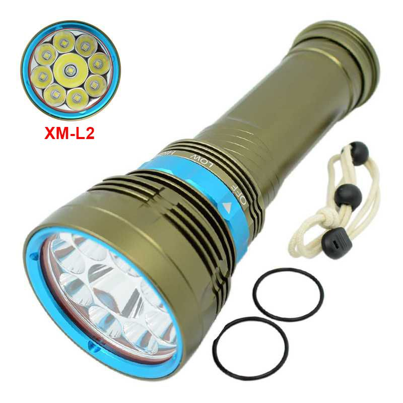 3 Modes 20000LM Super Brightness 9x XML L2 Led Diving Flashlight 18650 Lanterna Dive Light Tactical Underwater Waterproof Torch