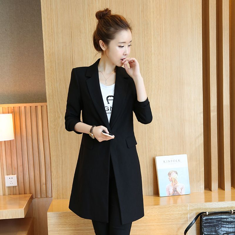 New Arrival Women Blazers And Jackets 2017 Spring Autumn Fashion Single Button Blazer Femenino Black Ladies Blazer Female E512