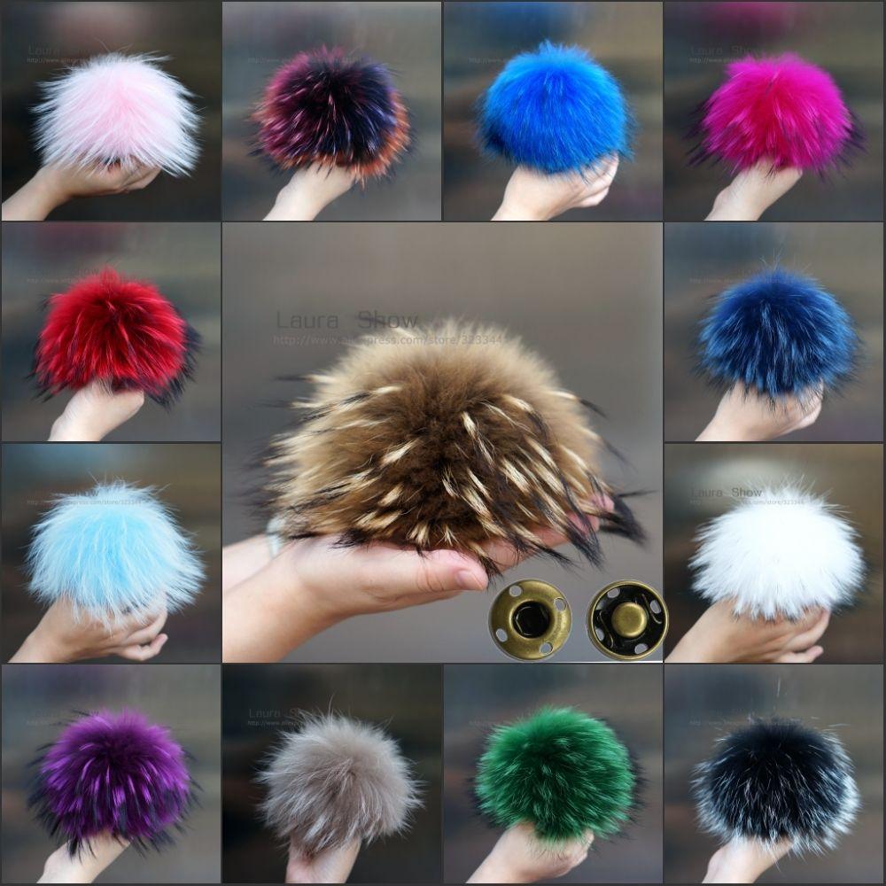 LAURASHOW 16-17cm Multicolor Real Raccoon Mink Fox Fur Ball 20 Colorful Fur Winter Pom Poms For Shoe Bag Hat Fur Cap Accessories