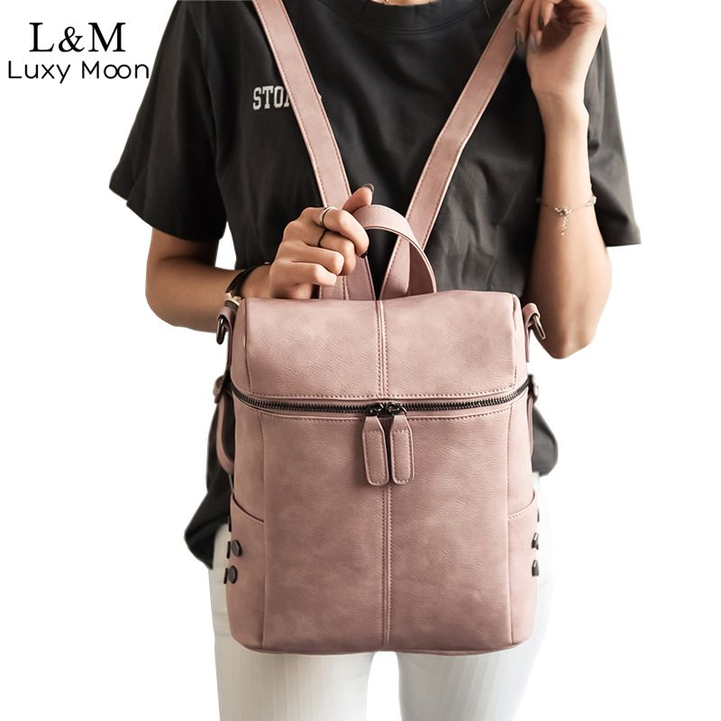 Simple Style Backpack Women PU Leather Backpacks For Teenage Girls School Bags Fashion Vintage Solid Shoulder Bag Black XA568H