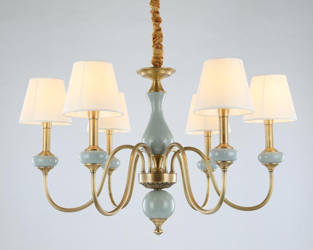 Modern Full Bronze Copper Chandelier for Bedroom Dining Living Room with Ceramics Luxury Chandelier Fixtures BLC102