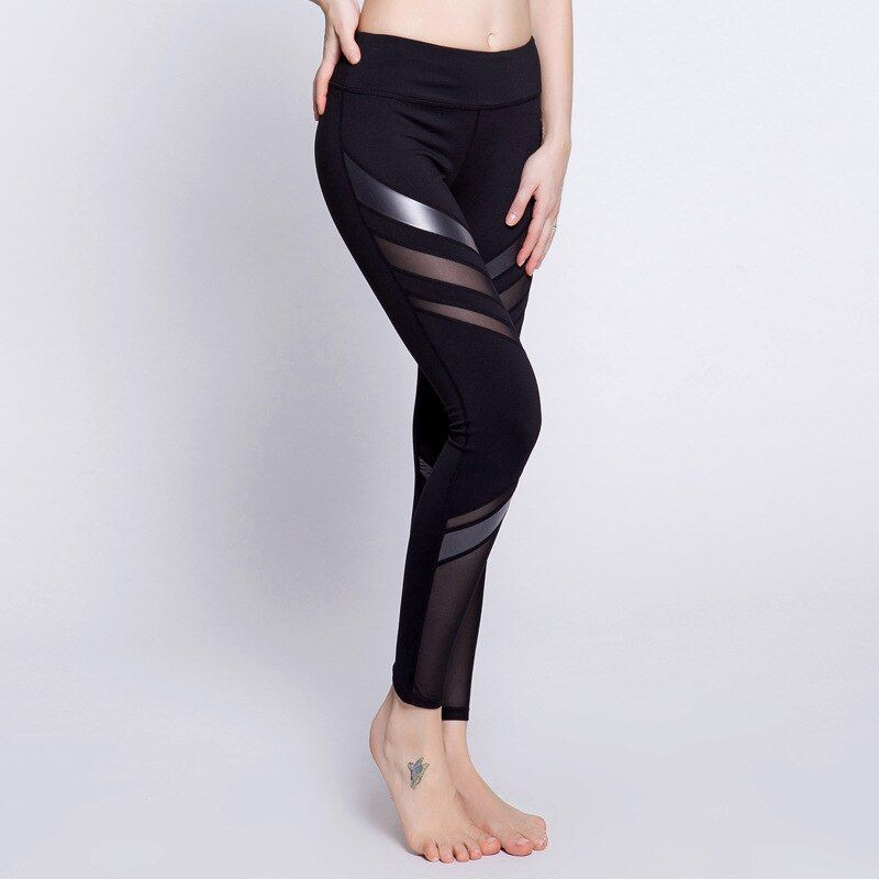 Eshtanga yoga tight Super quality Free Shipping Women Quick Dry Trousers Fitness Gym PU Leather Mesh Patchwork Pants Size XS-XL