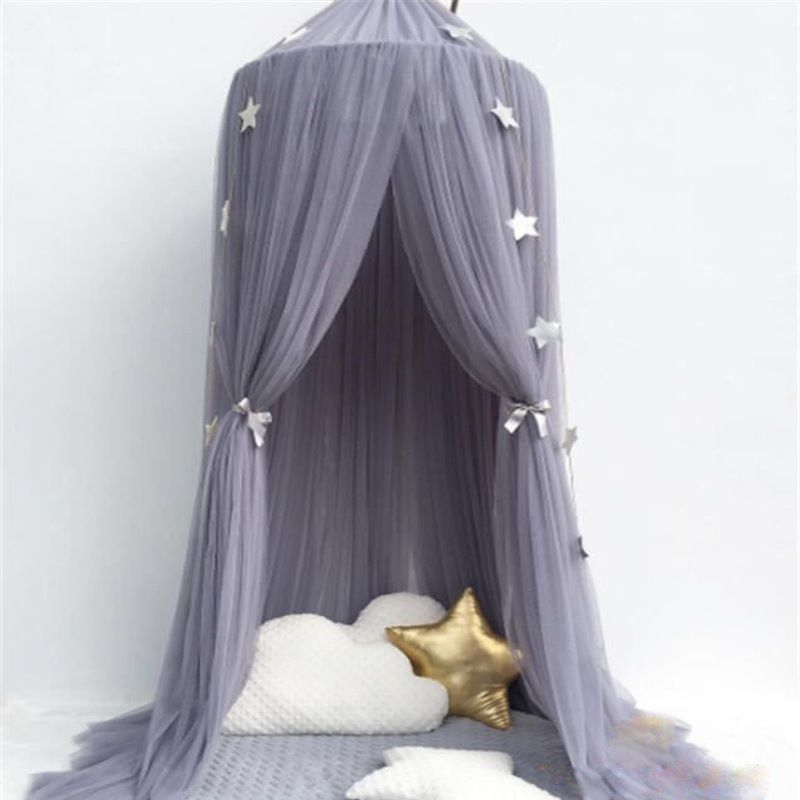 6 Colors Hanging Kids Baby Bedding Dome Bed Canopy Cotton Mosquito Net Bedcover Curtain For Baby Kids Reading Playing Home Decor