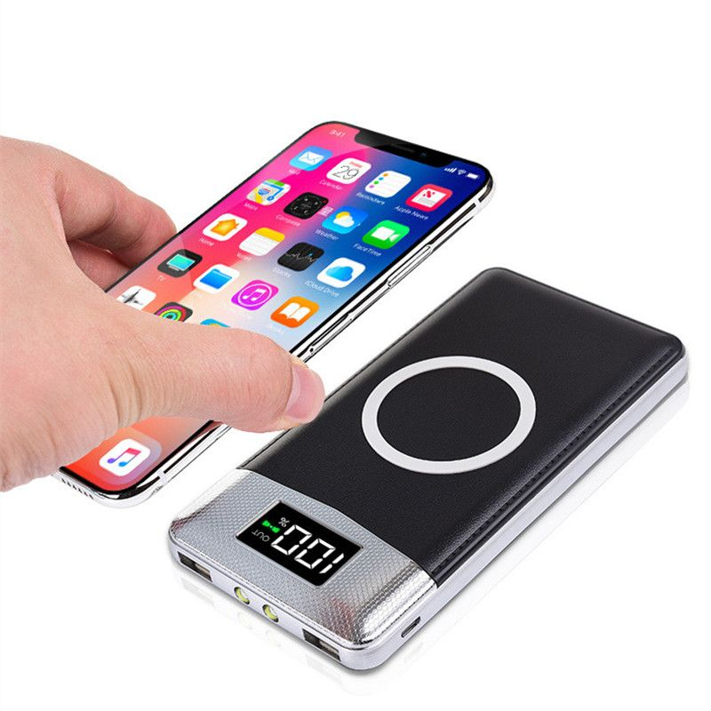 Hot 2USB Ports 20000mah QI Wireless Charger 5W Pad Power Bank Built-in Wireless Charging Universal Power Bank