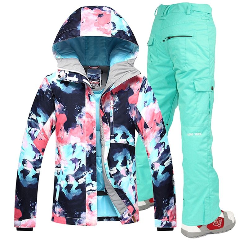 Gsou Snow -30 Women skiing suit sets snowboarding clothes waterproof & windproof winter snow outdoor ski jackets + Pants