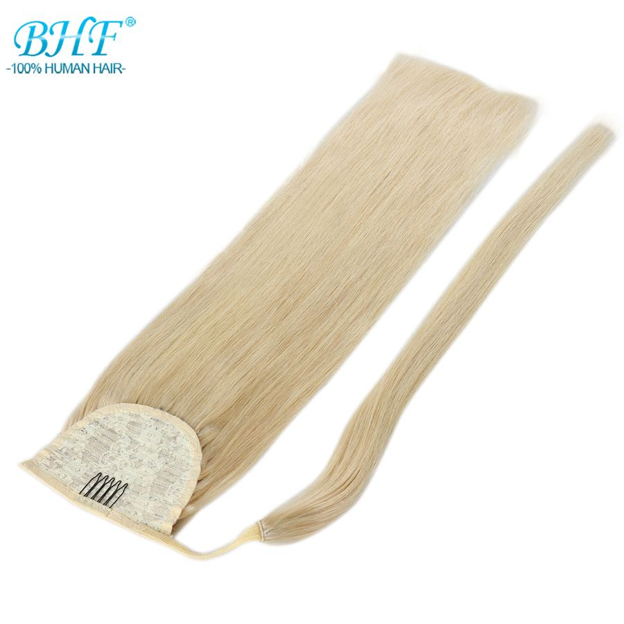 BHF Human Hair Ponytail Straight European Remy Ponytail Wrap Around Horsetail wig 100g 120g Tails