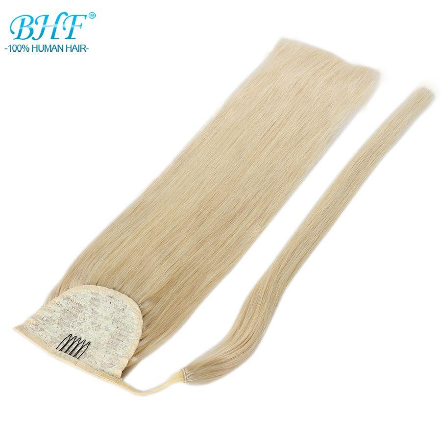 BHF Human Hair Ponytail Straight European Remy Ponytail Wrap Around Horsetail wig 100g Tails