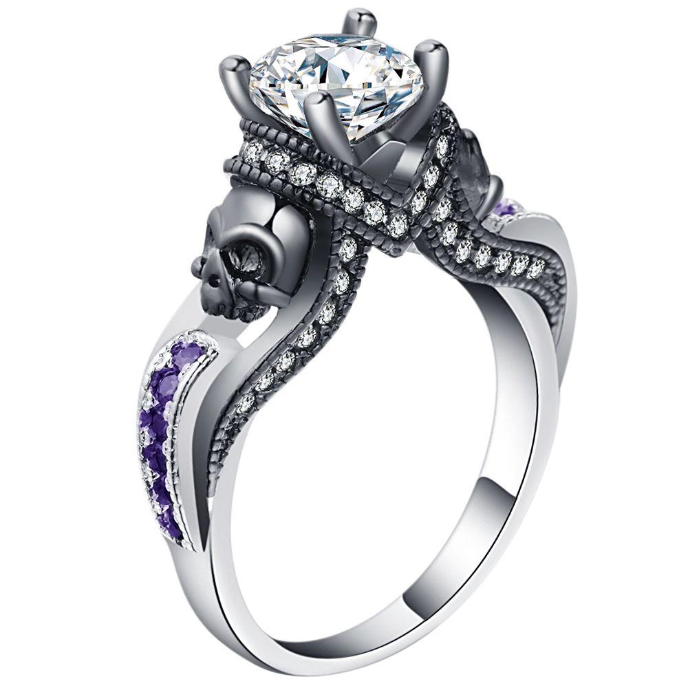 Women's Skull Ring Pink Red Black Purple Blue Green CZ Stone Punk style Men Party Ring Birthstone skull men's jewelry Rings