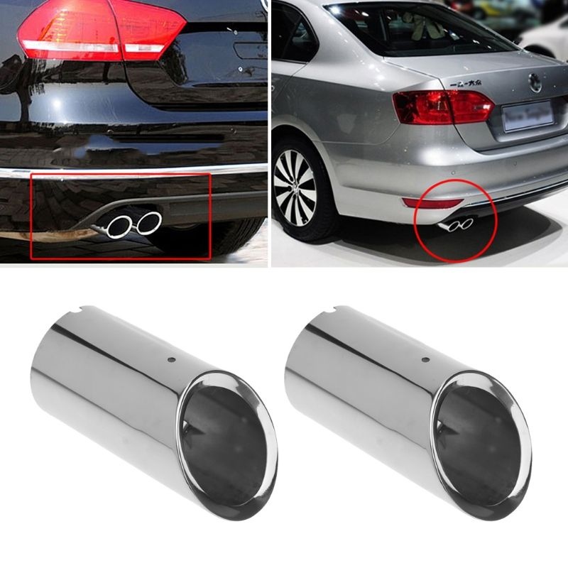 2pcs Stainless steel Exhaust Muffler Pipe For VW Volkswagen Jetta MK6 Golf 6 7 MK7 1.4T Exhaust Systems Mufflers Auto parts