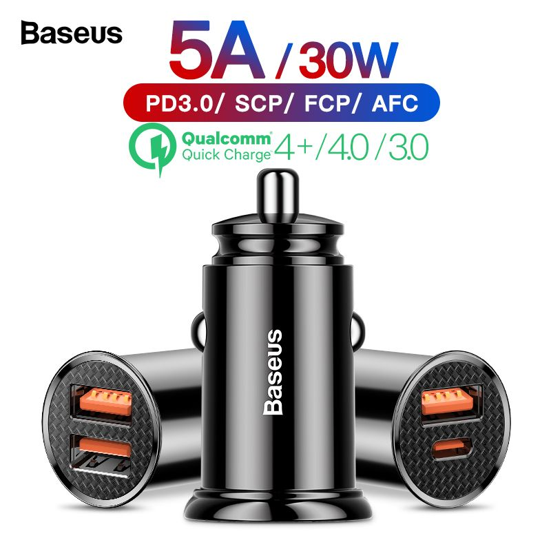 Baseus Quick Charge 4.0 3.0 Car USB Charger QC4.0 QC 3.0 5A USB C PD Fast Car-Charger Charging For Xiaomi mi 9 8 Huawei P30 Pro