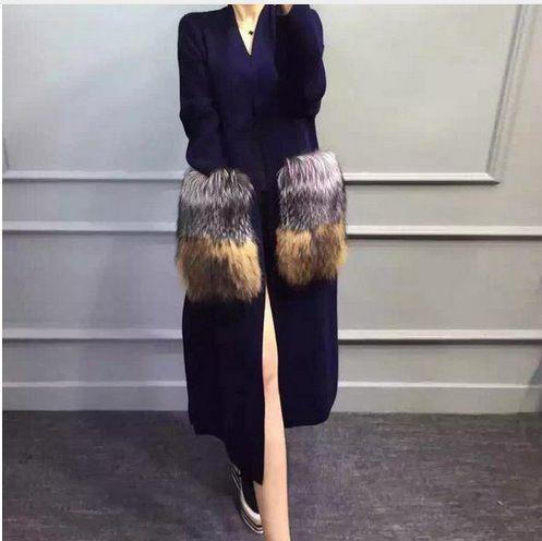 Из натуральной норки кашемировый свитер женские длинные трикотажные норки свитер кардиганы серебро лисицы 008