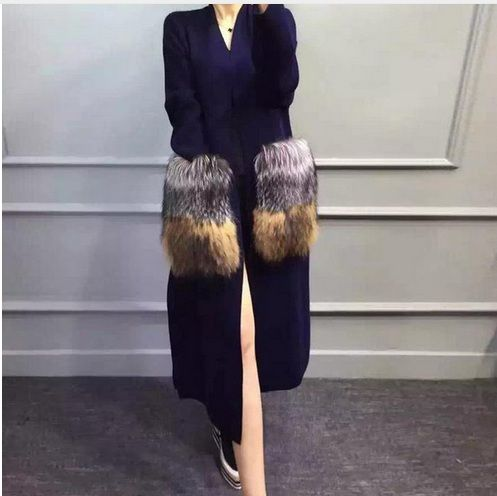 Genuine mink cashmere sweater women's long knitted mink sweater cardigans The silver fox fur 008